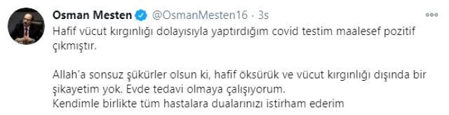 AK Parti Bursa Milletvekili Osman Mesten'in koronavirüs testi pozitif çıktı