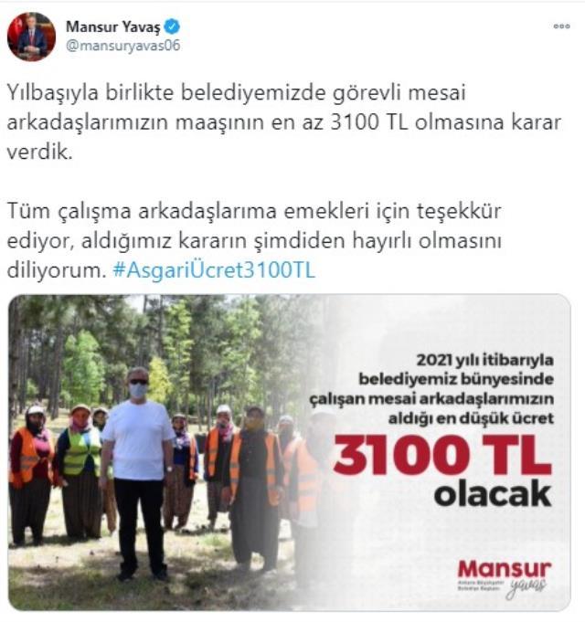 Ankara Büyükşehir Belediyesi'nde çalışan personelin maaşı en az 3100 TL olacak