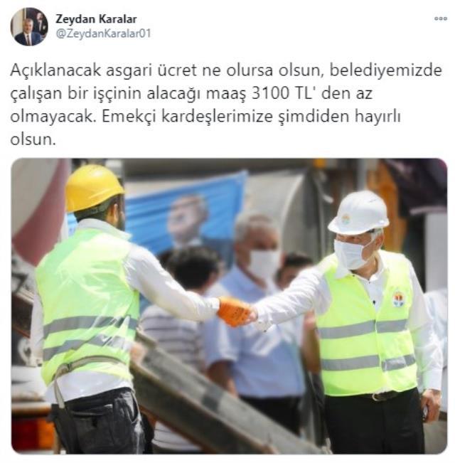 Ankara Büyükşehir Belediyesi'nde çalışan personelin maaşı en az 3 bin 100 TL olacak
