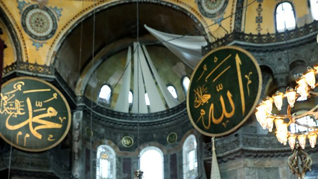 Ayasofya Camii'ndeki freskleri kapatacak perdeler görüntülendi