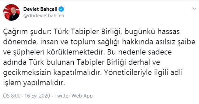 Bahçeli: Sadece adında Türk bulunan Tabipler Birliği derhal ve gecikmeksizin kapatılmalı