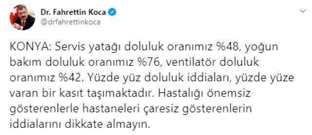 Konya İl Sağlık Müdürü'nün açıklamasına Bakan Koca'dan yanıt: Hastaneleri çaresiz gösterenlerin iddialarını dikkate almayın