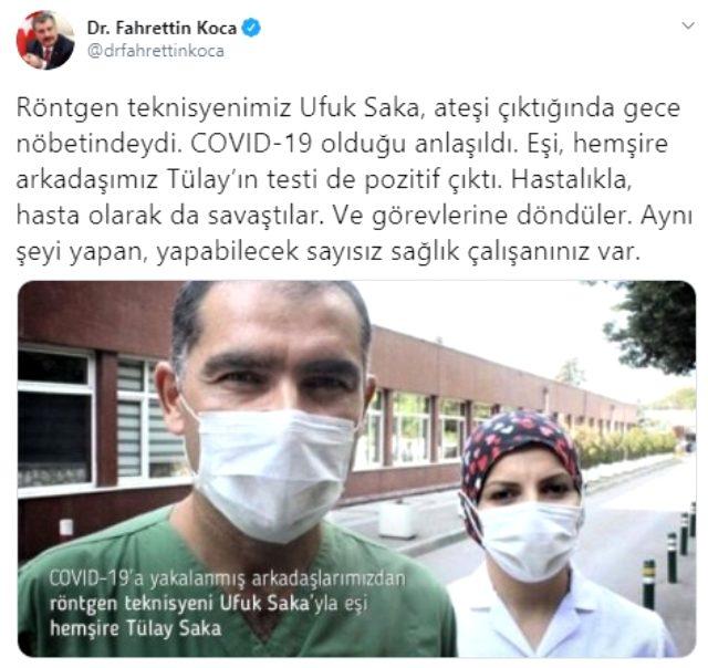 Bakan Koca, koronavirüsü yenen sağlık çalışanlarının fotoğraflarını paylaştı: Hastalıkla, hasta olarak da savaştılar