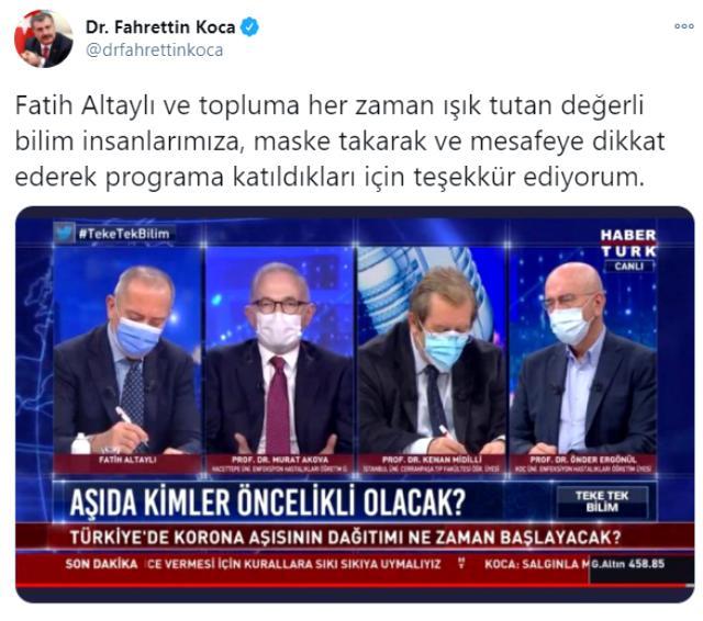 Bakan Koca, maske kuralına dikkat eden Fatih Altaylı ve konuklarına teşekkür etti