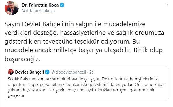 Bakan Koca'dan, MHP lideri Bahçeli'ye teşekkür