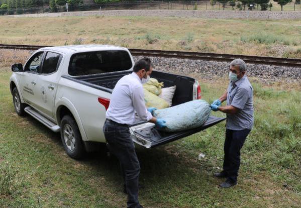 Baskın yapılan evde, kaçak toplanan 5 çuval salyangoz ele geçirildi