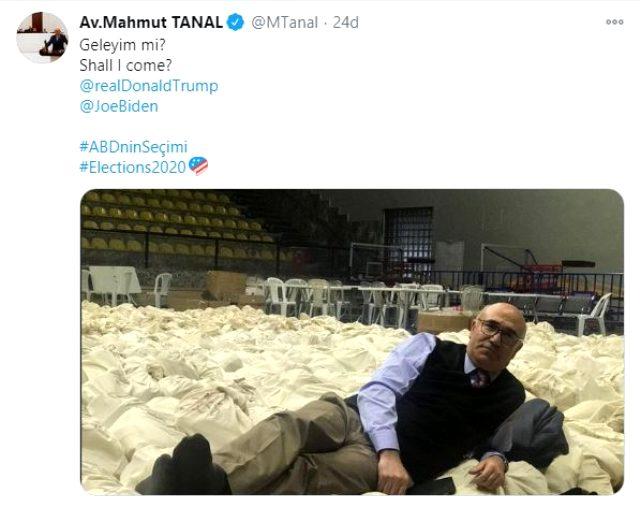 Mahmut Tanal, oy çuvalı üzerindeki pozunu paylaşıp Trump ve Biden'a sordu: Geleyim mi?