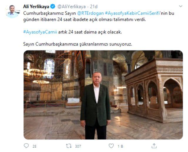 Cumhurbaşkanı Erdoğan, Ayasofya Camii'nin 24 saat açık kalması için talimat verdi