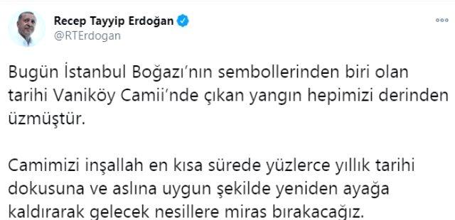 Cumhurbaşkanı Erdoğan'dan yanan tarihi Vaniköy Camii paylaşımı: En kısa sürede ayağa kaldıracağız