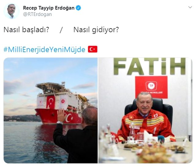 Cumhurbaşkanı Erdoğan'dan 'Fatih' Sondaj Gemisi paylaşımı