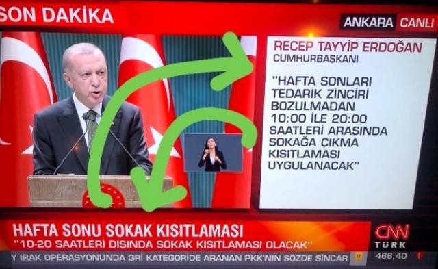 Erdoğan sokağa çıkma kısıtlaması saatlerini açıkladı, televizyon kanallarını karmaşa sardı