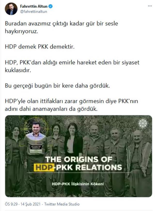 Cumhurbaşkanlığı İletişim Başkanı Altun'dan terör örgütü PKK'ya ve HDP'ye sert tepki