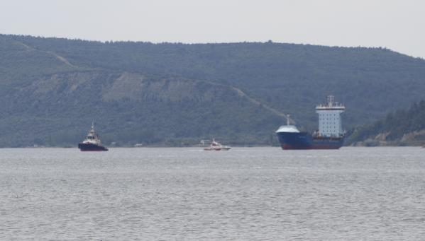 Çanakkale Boğazı'nda arızalanan gemi, plaj önüne demirledi (2)