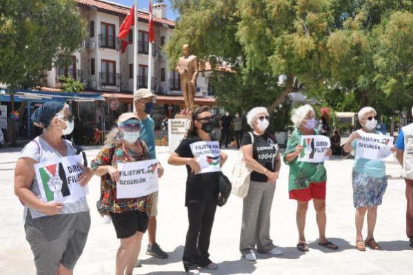 Datça'da İsrail protestosu