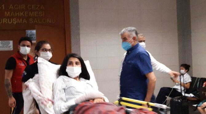Eşi tarafından vurulan genç kadın duruşmaya sedyeyle geldi
