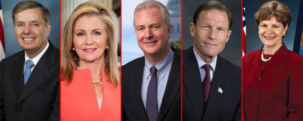 Soldan sağa doğru: 1. Lindsey Graham 2. Marsha Blackburn 3. Chris Van Hollen 4. Richard Blumenthal 5. Jeanne Shaheen