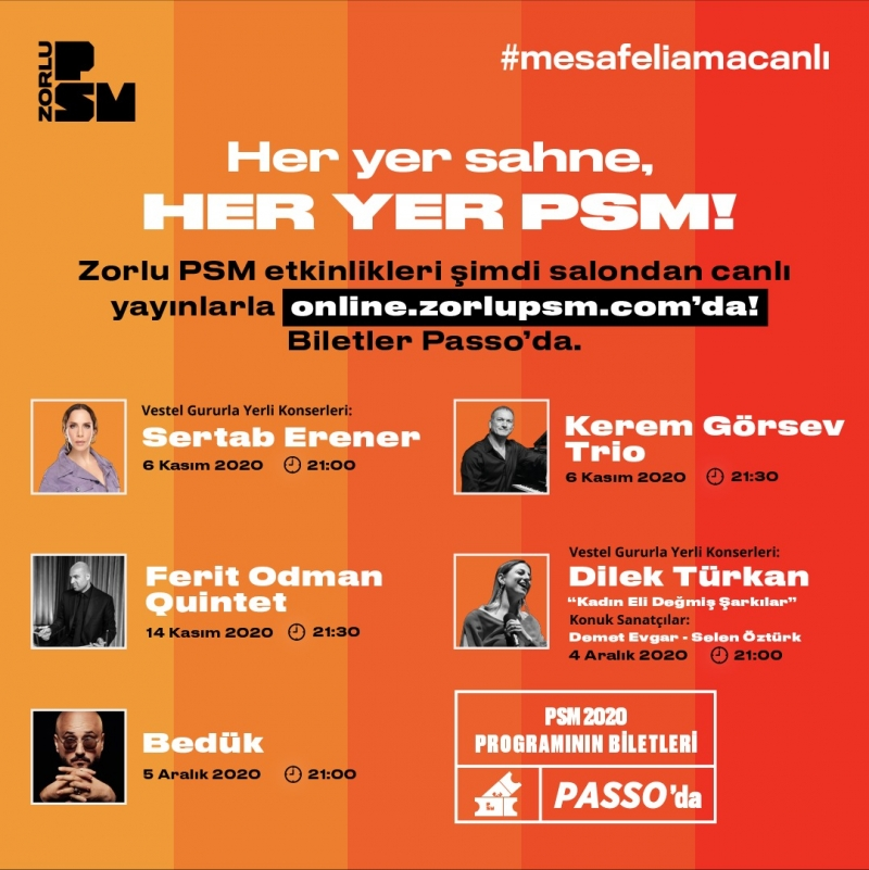 Zorlu PSM dijital platformda da perdelerini açtı; Biletli hibrit etkinlikler Kasım'da başlıyor!