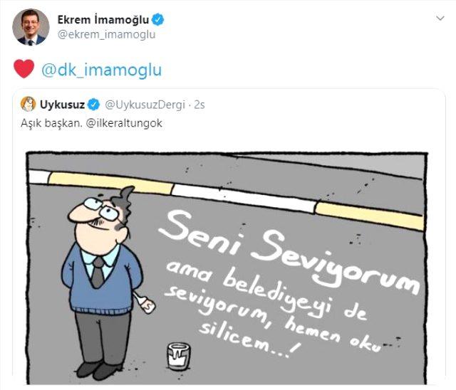 Ekrem İmamoğlu'ndan Dilek İmamoğlu'na ilanı aşk: Seni seviyorum ama belediyeyi de seviyorum