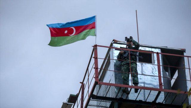 Ermenistan işgalinden kurtarılan Azerbaycan'ın Zengilan kentindeki karakollara bayrak çekildi