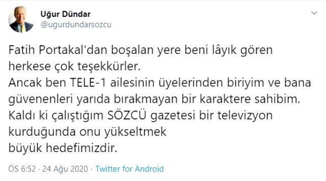 Fatih Portakal'ın yenine geçeceği konuşulan Uğur Dündar, Fox TV iddialarına noktayı koydu