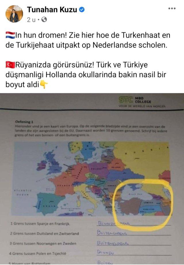 Hollanda'da Türkiye'yi parçalanmış gösteren harita, Türk milletvekilin tepkisi üzerine düzeltildi