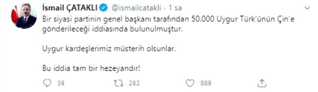 İçişler Bakanlığı, Davutoğlu'nun '50 bin Uygur Türk'ü Çin'e verilecek' iddiasına yanıt verdi