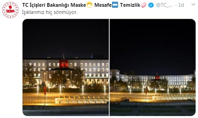 İçişleri Bakanlığı'ndan AYM üyesinin 'ışıklar yanıyor' tweetine ilginç yanıt: Işıklarımız hiç sönmüyor
