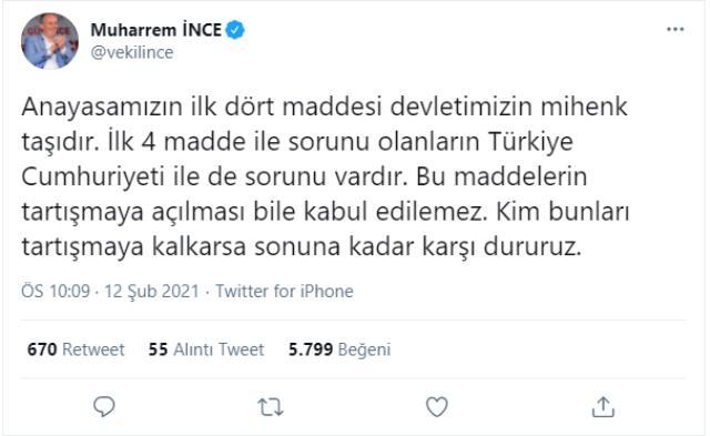 İnce'den, Babacan'a 'İlk 4 madde' tepkisi: Sorunu olanların Türkiye Cumhuriyeti ile de sorunu vardır
