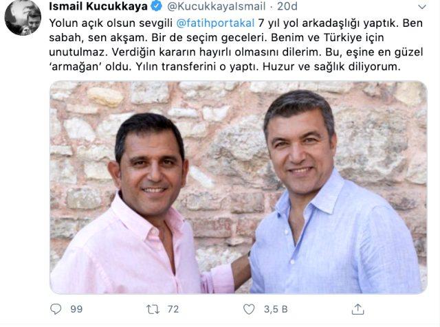 İsmail Küçükkaya'dan Fatih Portakal paylaşımı: Yılın transferini eşin yaptı