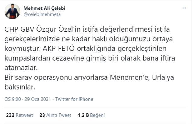 İstifanın ardından CHP'de kılıçlar çekildi! Özel'in 'Saray operasyonu' sözlerine Çelebi'den sert yanıt: Menemen'i kim sattı?