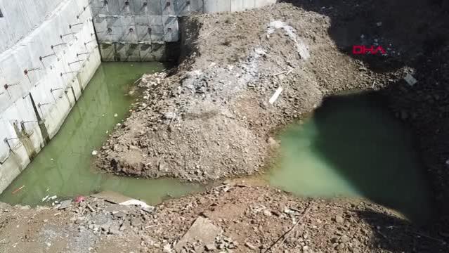 Kağıthane'de 10 yaşında çocuğun boğulduğu inşaat alanındaki gölet havadan görüntülendi