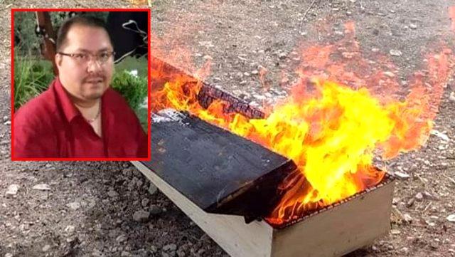 Koronavirüsten vefat eden hastanın cenazesi defnedildikten sonra tabutu yakıldı