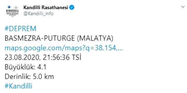 Malatya'nın Pütürge ilçesinde 4 büyüklüğünde deprem meydana geldi