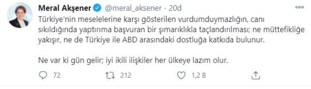 Meral Akşener'den ABD'nin yaptırım kararına tepki: Gün gelir iyi ikili ilişkiler her ülkeye lazım olur