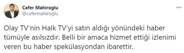 Halk TV'nin sahibi Cafer Mahiroğlu: Olay TV'nin Halk TV'yi satın aldığı yönündeki haber tümüyle asılsız