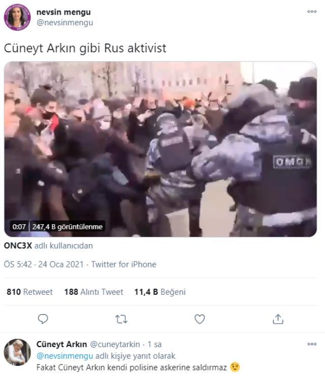 Rus protestocuları Cüneyt Arkın'a benzeten Nevşin Mengü'ye ünlü oyuncudan yanıt gecikmedi
