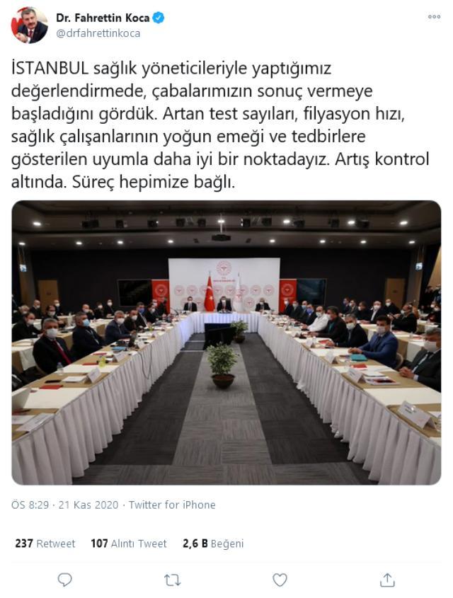 Sağlık Bakanı Koca, İstanbullulara güzel haberi verdi: Vaka artış hızı kontrol altına alındı