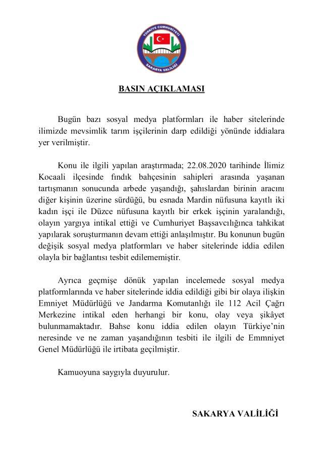 Sakarya Valiliği'nden tarım işçilerine saldırı iddiası ile ilgili açıklama geldi