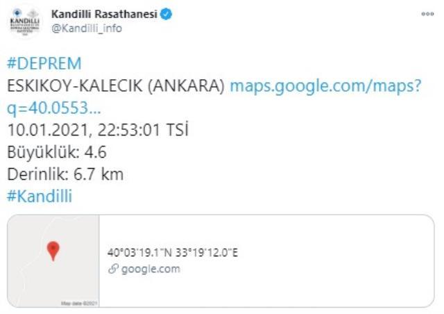 Son Dakika: Ankara'da 4.5 büyüklüğünde deprem