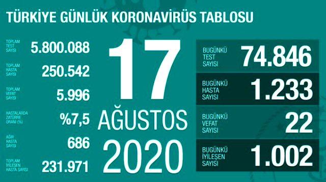 Son Dakika: Türkiye'de 17 Ağustos günü koronavirüs kaynaklı 22 can kaybı, 1233 yeni vaka tespit edildi