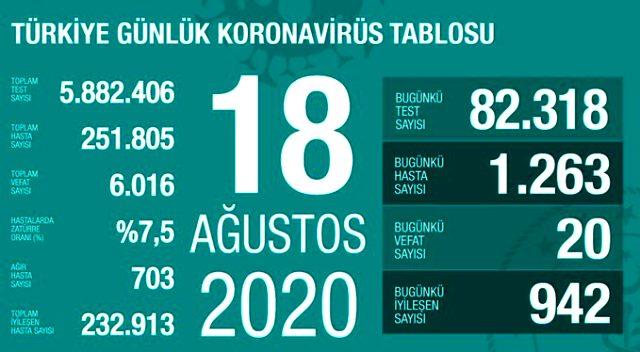 Son Dakika: Türkiye'de 18 Ağustos günü koronavirüs kaynaklı 20 can kaybı, 1263 yeni vaka tespit edildi
