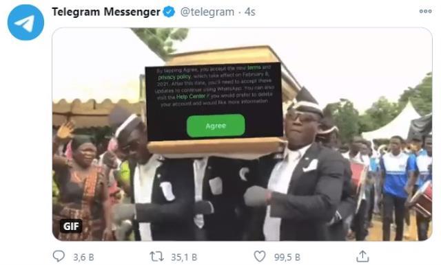 Telegram, Ganalı cenaze dansçılarıyla WhatsApp'ı ti'ye aldı
