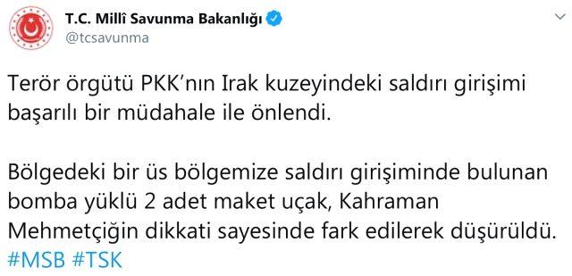 Terör örgütü PKK'nın bomba yüklü 2 maket uçağı düşürüldü