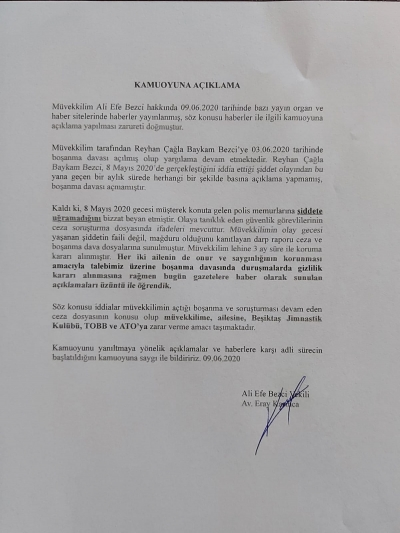 EFE BEZCİ'NİN AVUKATI ERAY KARINCA'NIN KAMUOYU AÇIKLAMASI