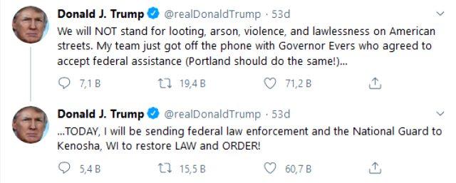 Trump, Jacob Blake'in polis tarafından vurulmasıyla protestolara sahne olan Wisconsin'e Ulusal Muhafızlar gönderiyor