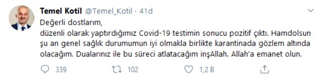 TUSAŞ Genel Müdürü Temel Kotil, koronavirüse yakalandı