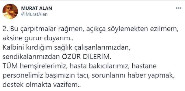 Yeni Akit Haber Müdürü Murat Alan'dan sağlık çalışanlarına yönelik tepki çeken sözler: 'Rüşvetimi ver susayım' mantığı gibi
